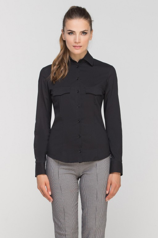 Shirt with flaps on chest, K106 black