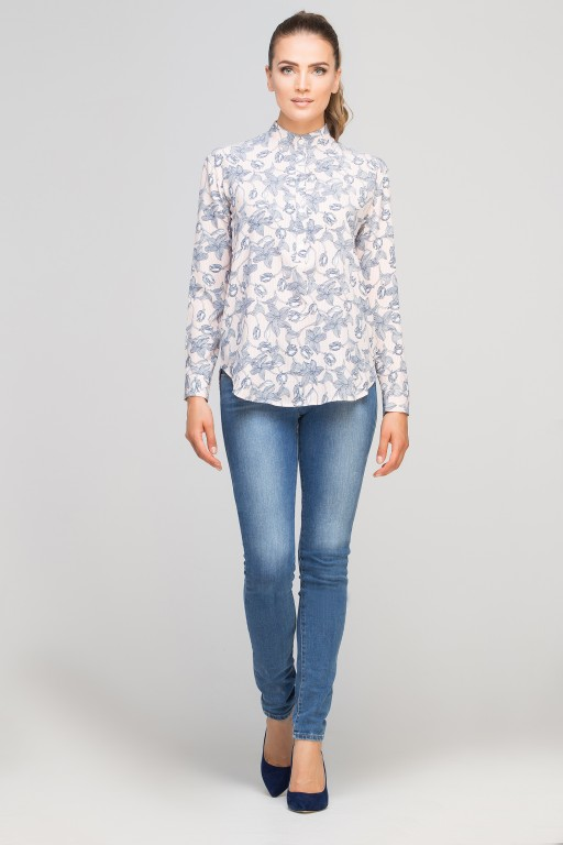 Shirt with stand up collar, K107 pink