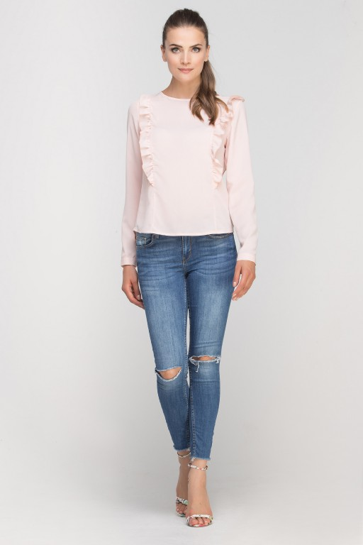 Bluzka z pionowymi falbanami, BLU136 róż