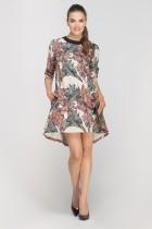 Sukienka z dłuższym tyłem, SUK148 liście