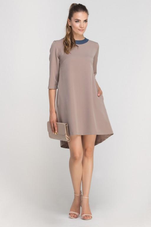Sukienka z dłuższym tyłem, SUK148 beige