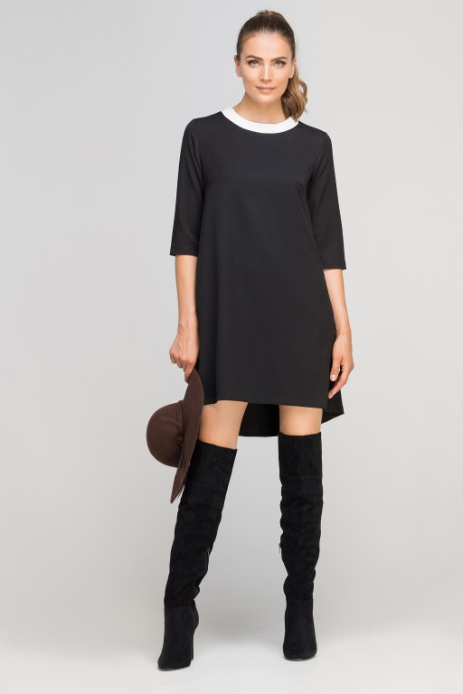 Sukienka z dłuższym tyłem, SUK148 czarny
