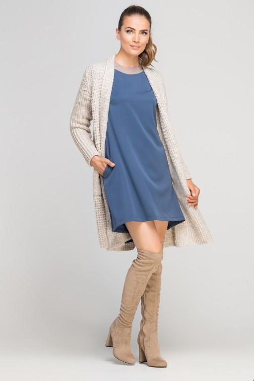 Dress with longer back, SUK148 blue