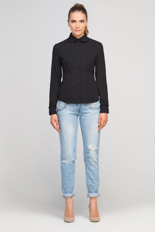 Classic shirt with round collar, K105 black