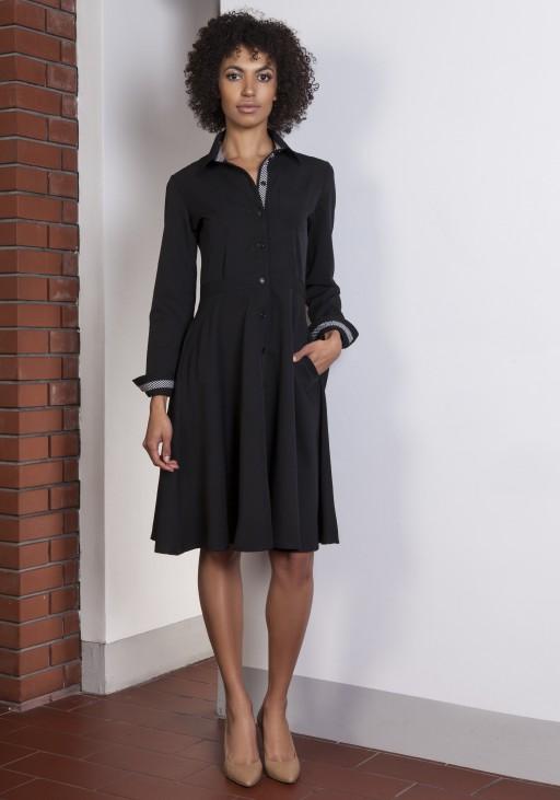 Rozkloszowana sukienka, SUK151 czarny