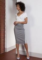 Pencil midi skirt with stripes, SP117 gray