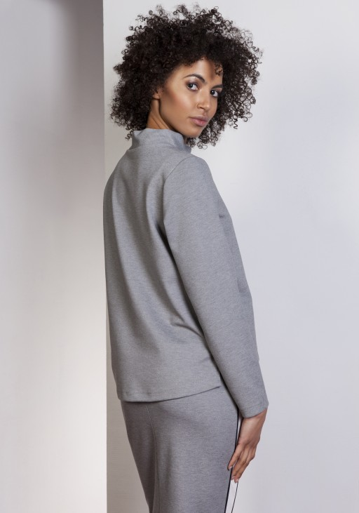 Sweatshirt with longer back, BLU139 gray