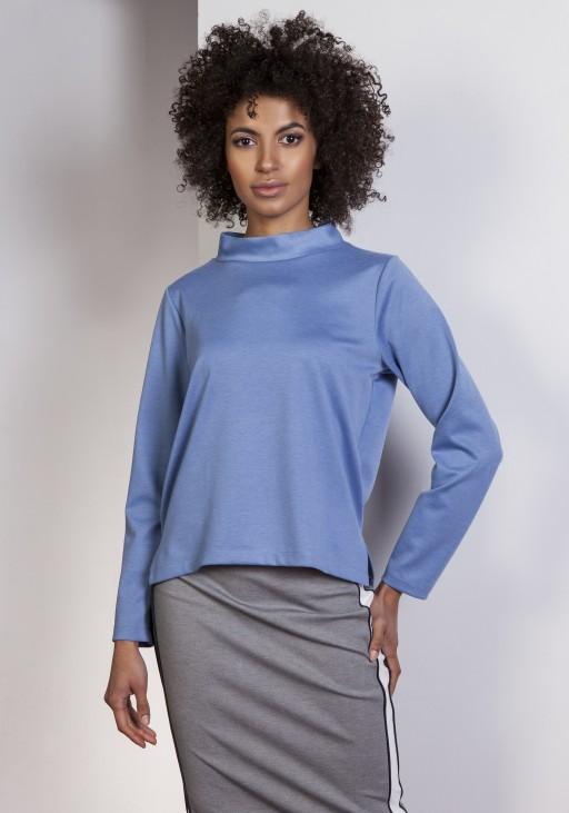 Sweatshirt with longer back, BLU139 blue