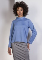 Sweatshirt with longer back, BLU139 blue