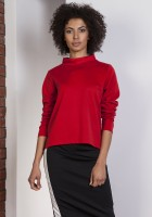 Bluza z dłuższym tyłem, BLU139 czerwony