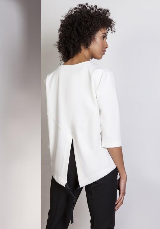 Luźna bluzka – frak, BLU140 ecru