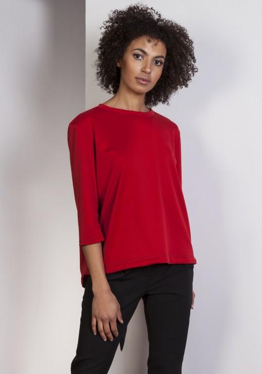 Luźna bluzka – frak, BLU140 czerwony