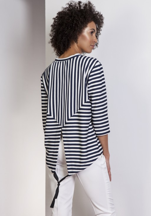 Loose blouse - tailcoat, BLU140 stripes