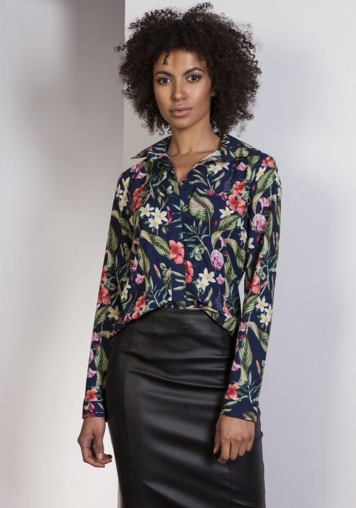 Elegancka koszula, K101 kwiaty