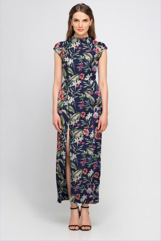 Sukienka maxi z rozcięciem, SUK140 kwiaty