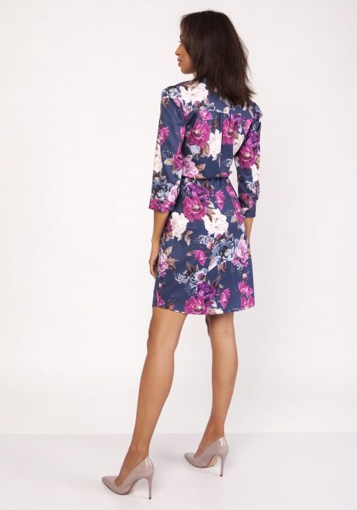 Sukienka z delikatną stójką, SUK153 kwiaty