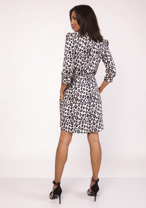 Sukienka z delikatną stójką, SUK153 panterka