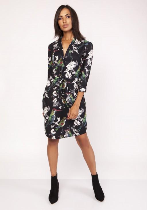 Sukienka z delikatną stójką, SUK153 ptaki