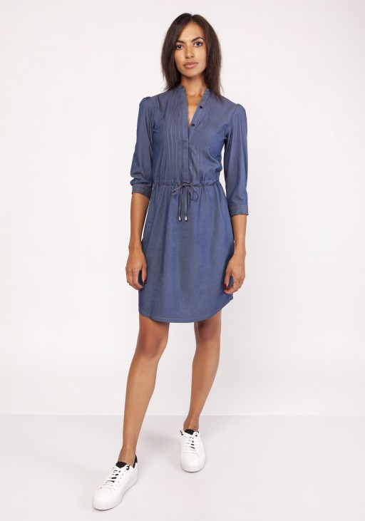 Dress with a delicate stand-up collar, SUK154 jeans