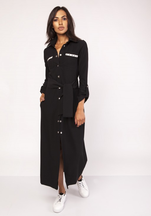 Długa sukienka w stylu militarnym, SUK157 czarny
