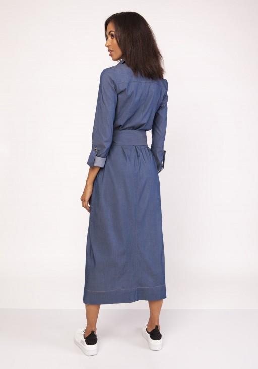 Długa sukienka w stylu militarnym, SUK158 jeans
