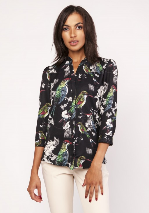 Shirt with a loose cut, K111 birds