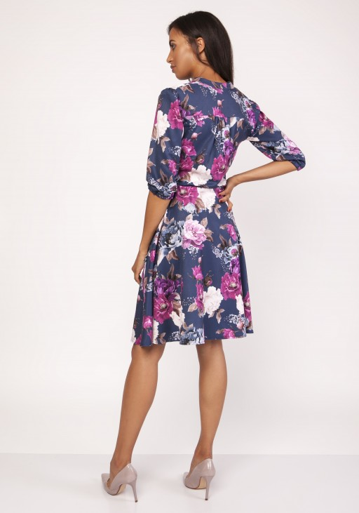 Dress with a flared bottom, SUK155 flowers