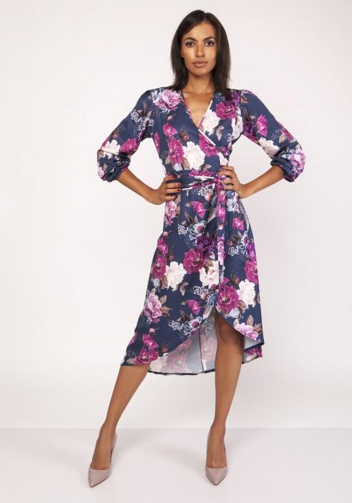 Asymetryczna, kopertowa sukienka, SUK161 kwiaty