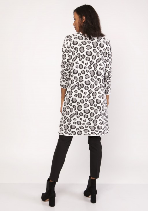 Long cardigan with a leopard pattern, SWE113 panther gray