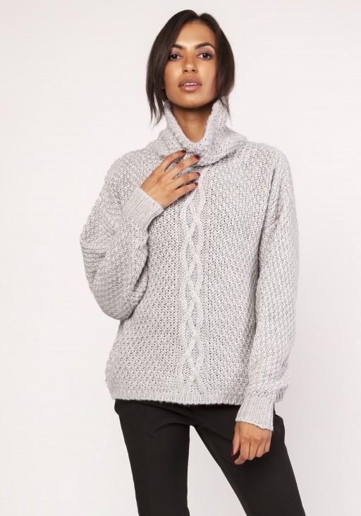 Ciepły sweter z warkoczem, SWE115 szary