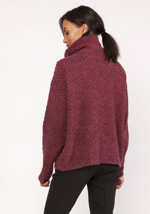 Ciepły sweter z warkoczem, SWE115 bordo