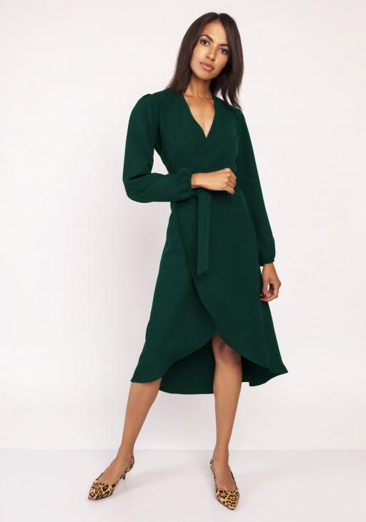 Asymmetrical, envelope dress, SUK160 green