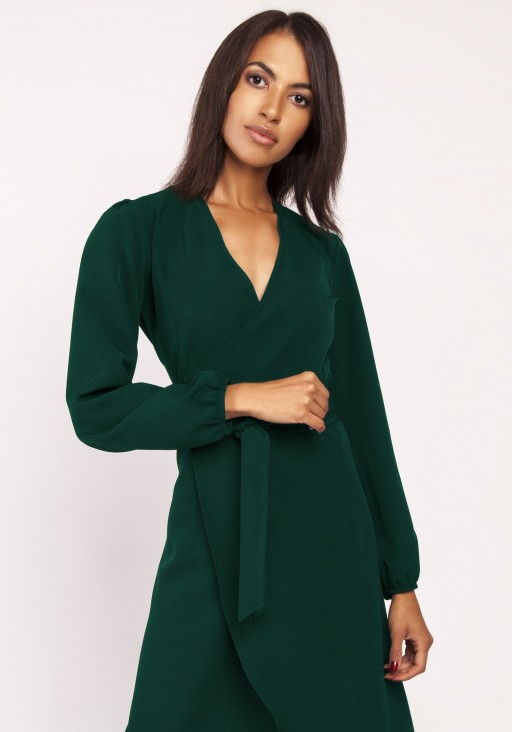Asymmetrical, envelope dress, SUK160 khaki