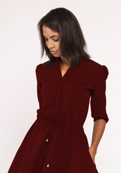 Dress with a flared bottom, SUK156 burgundy