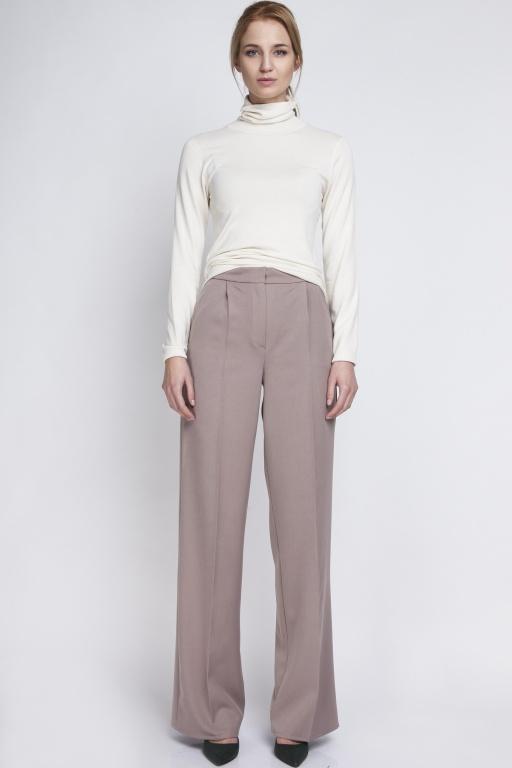 Klasyczne spodnie z wysokim stanem, SD111 beż