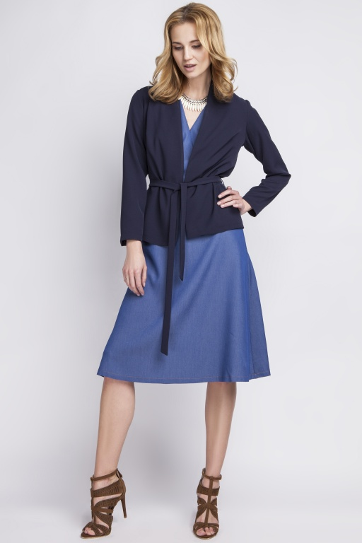 Jacket with belt, ZA110 navy