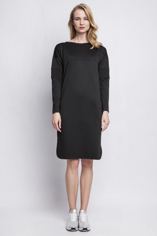 Sukienka z pikowanymi wstawkami, SUK107 czarny
