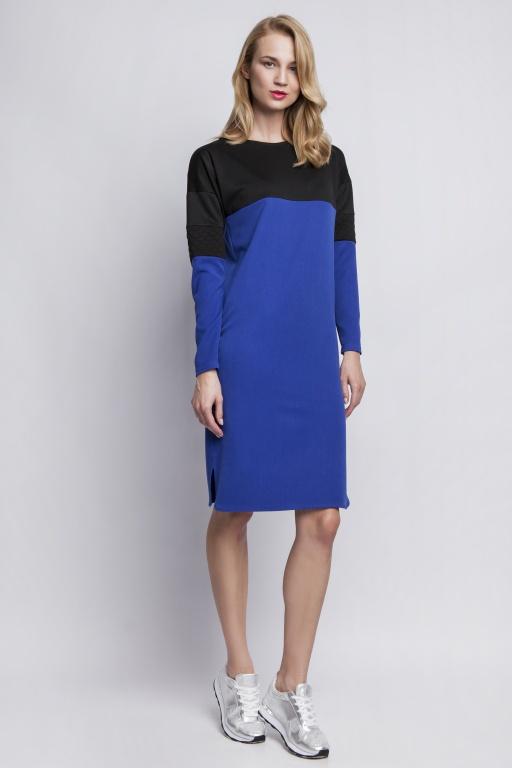 Sukienka z pikowanymi wstawkami, SUK107 indygo