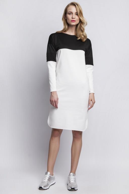 Sukienka z pikowanymi wstawkami, SUK107 ecru