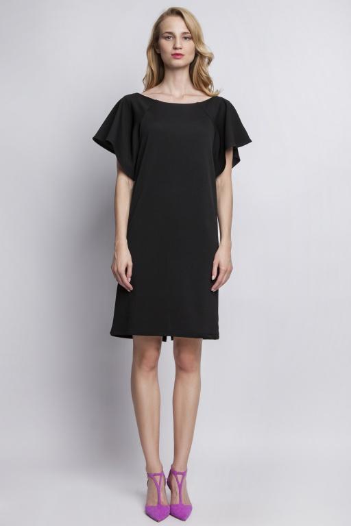 Sukienka z oryginalnymi rękawami, SUK104 czarny