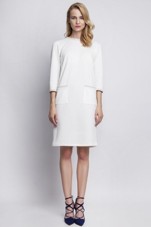 Sukienka z kieszeniami, SUK103 ecru