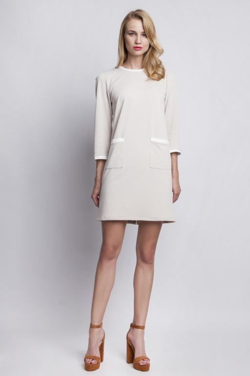 Sukienka z kieszeniami, suk103 beżowy