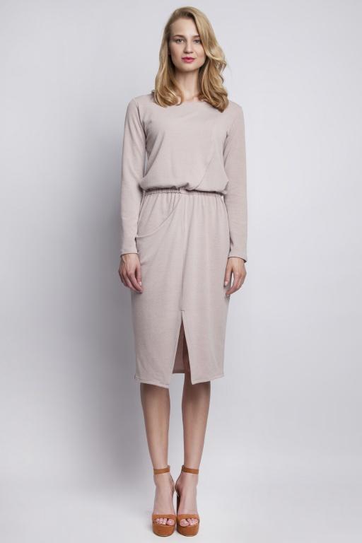 Dzianinowa sukienka z kieszenią, SUK109 beż