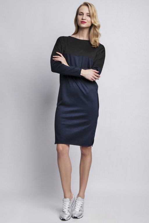 Dress with quilted inserts, SUK107 navy