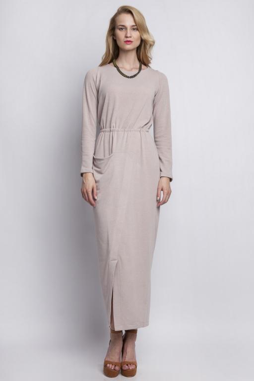 Sukienka maxi z asymetryczną kieszenią, SUK111 beż