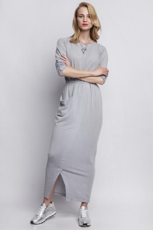 Sukienka maxi z asymetryczną kieszenią, SUK111 szary