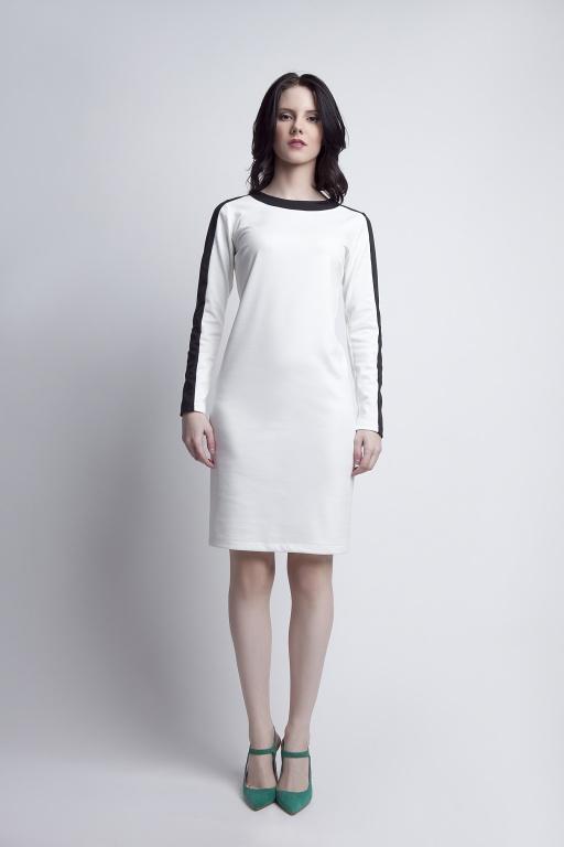 Sukienka z ciekawymi wstawkami, SUK115 ecru