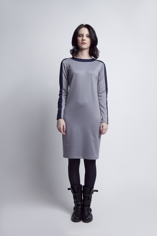Sukienka z ciekawymi wstawkami, SUK115 szary