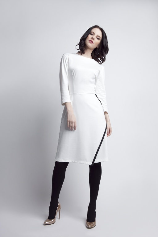 Rozkloszowana sukienka, SUK116 ecru