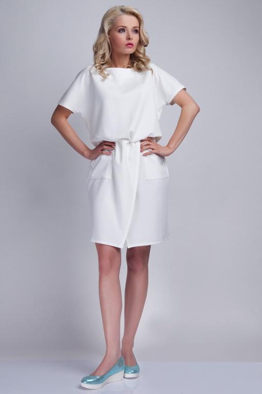 Sukienka z kieszeniami, SUK117 ecru